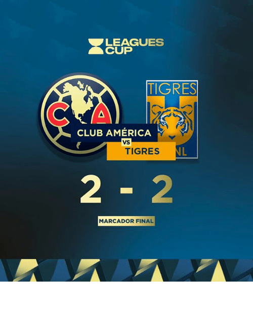 America, Club, and Club America: LEAGUES  CUP  TIGRES  CLUB AMÉRICA  VS  NL  TIGRES  2-2  MARCADOR FINAL 𝙼𝙰𝚁𝙲𝙰𝙳𝙾𝚁 𝙵𝙸𝙽𝙰𝙻