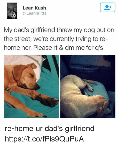 Lean, Memes, and Home: Lean Kush  @Leann Fitts  My dad's girlfriend threw my dog out on  the street, we're currently trying to re-  home her. Please rt & dm me for q's re-home ur dad's girlfriend https://t.co/fPls9QuPuA