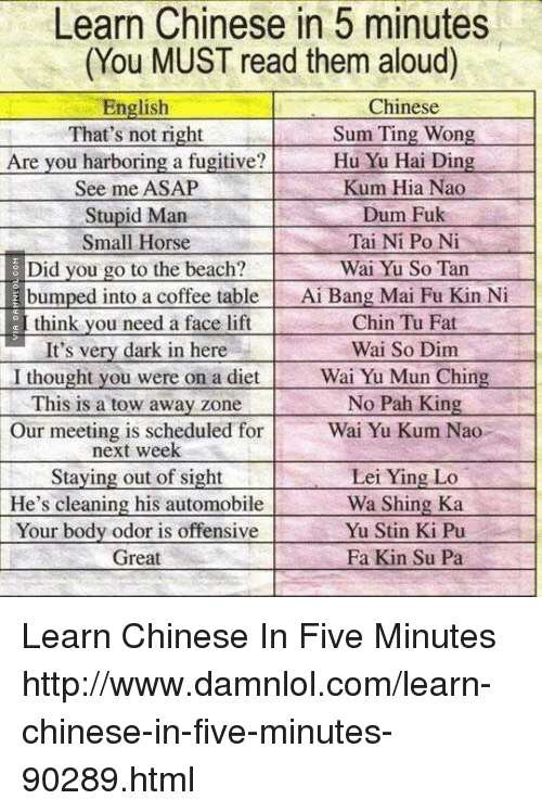 Funny Learn Chinese in 5 Minutes Memes of 2017 on me.me