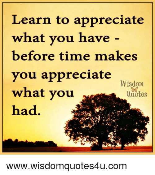 Learn To Appreciate What You Have Before Time Makes You Appreciate