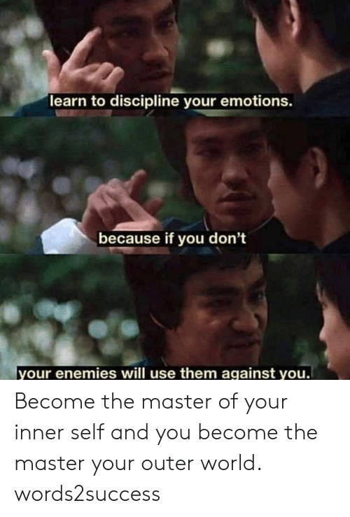 Memes, World, and Enemies: learn to discipline your emotions.  because if you don't  your enemies will use them against you Become the master of your inner self and you become the master your outer world. words2success