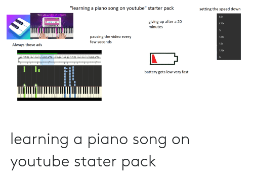 Learning a Piano Song on Youtube Starter Pack Setting the