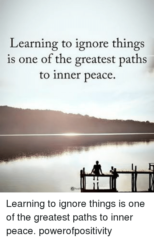 learning to ignore things is one of the greatest paths to inner