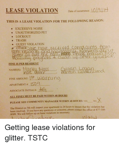 lease violation date of occurrence la quh this is a lease violation