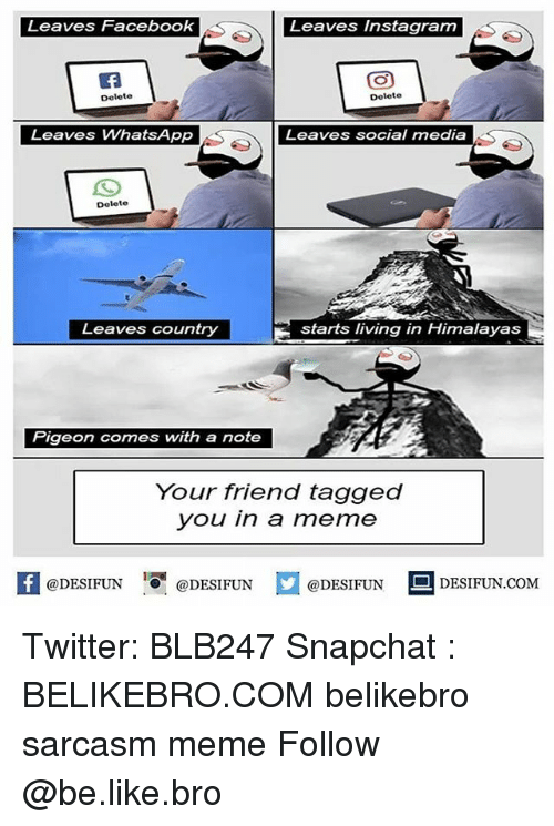 Be Like, Facebook, and Instagram: Leaves Facebook  Leaves Instagram  Delete  Delete  Leaves WhatsApp  Leaves social media  Delete  Leaves country  starts living in Himalayas  Your triena tagged  you in a meme  困@DESIFUN @DESIFUN @DESIFUN-DESIFUN.COM Twitter: BLB247 Snapchat : BELIKEBRO.COM belikebro sarcasm meme Follow @be.like.bro