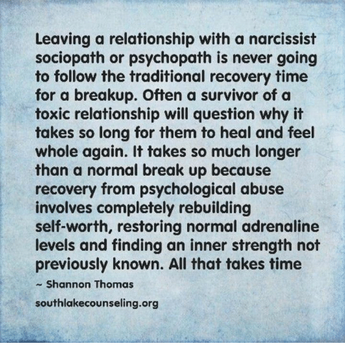 Healing after a break up with a narcissist