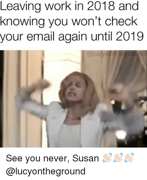 Work, Email, and Girl Memes: Leaving work in 2018 and  knowing you won't check  your email again until 2019 See you never, Susan 👋🏻👋🏻👋🏻 @lucyontheground