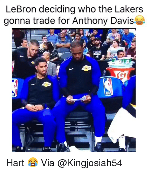 Basketball, Los Angeles Lakers, and Nba: LeBron deciding who the Lakers  gonna trade for Anthony Davis Hart 😂 Via @Kingjosiah54