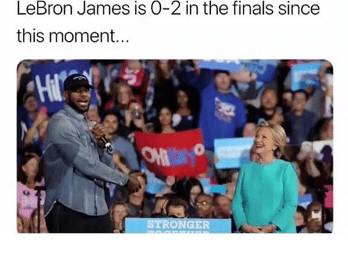 Finals, LeBron James, and Memes: LeBron James is O-2 in the finals since  this moment.  On