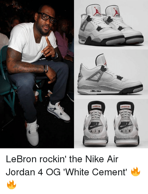 ac9da4de25e7 LeBron Rockin  the Nike Air Jordan 4 OG  White Cement  🔥🔥