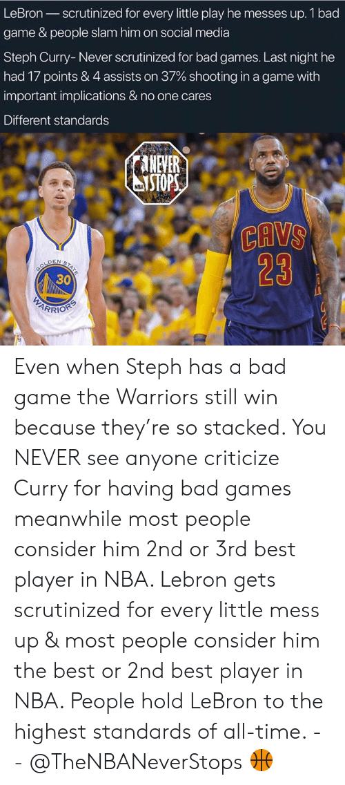 Bad, Cavs, and Nba: LeBron scrutinized for every little play he messes up. 1 bad  game & people slam him on social media  Steph Curry- Never scrutinized for bad games. Last night he  had 17 points & 4 assists on 37% shooting in a game with  important implications & no one cares  Different standards  ANEVER  STOP  NBA  CAVS  23  30 Even when Steph has a bad game the Warriors still win because they're so stacked. You NEVER see anyone criticize Curry for having bad games meanwhile most people consider him 2nd or 3rd best player in NBA. Lebron gets scrutinized for every little mess up & most people consider him the best or 2nd best player in NBA. People hold LeBron to the highest standards of all-time. - - @TheNBANeverStops 🏀