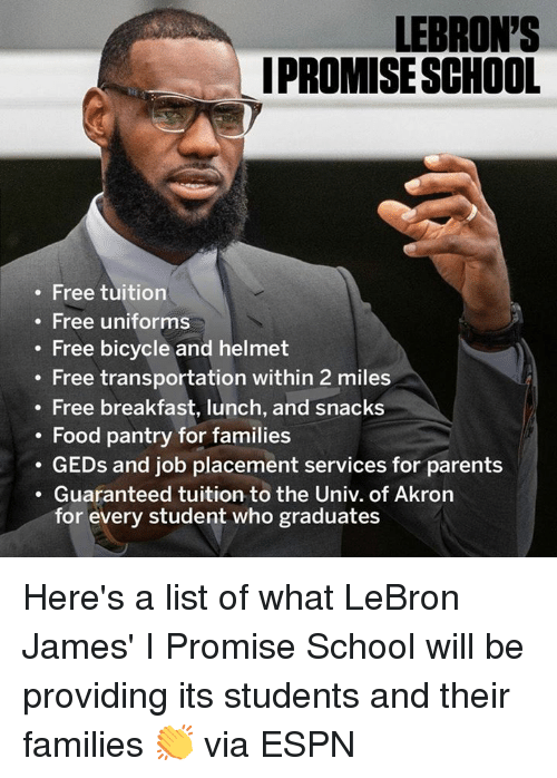 2420c65965f LEBRON S IPROMISESCHOOL Free Tuition Free Uniforms Free Bicycle and ...