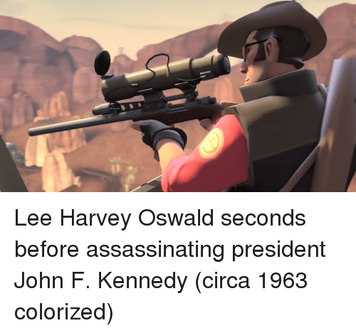 John F. Kennedy, Lee Harvey Oswald, and Kennedy: Lee Harvey Oswald seconds before assassinating president John F. Kennedy (circa 1963 colorized)