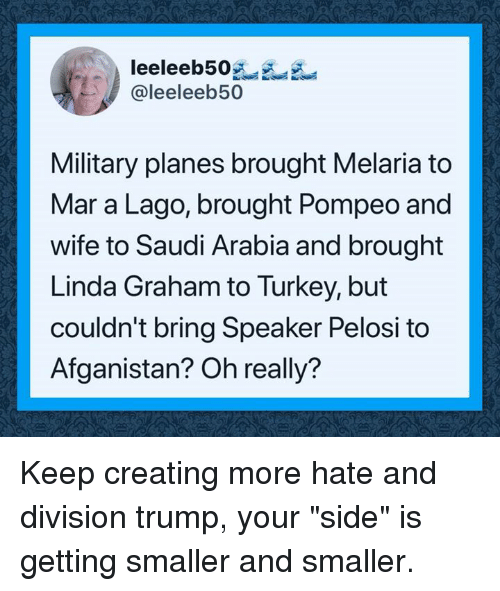 """Saudi Arabia, Trump, and Turkey: leeleeb50  @leeleeb50  Military planes brought Melaria to  Mar a Lago, brought Pompeo and  wife to Saudi Arabia and brought  Linda Graham to Turkey, but  couldn't bring Speaker Pelosi to  Afganistan? Oh really? Keep creating more hate and division trump,  your """"side"""" is getting smaller and smaller."""