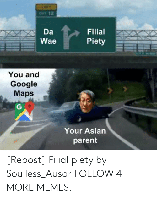 Asian, Dank, and Google: LEFT  CAT 12  Da  Filial  Piety  Wae  You and  Google  Maps  G  Your Asian  parent [Repost] Filial piety by Soulless_Ausar FOLLOW 4 MORE MEMES.