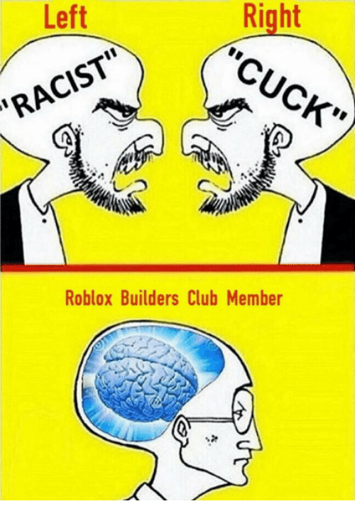 "Dank Memes, Roblox, and Cuck: Left  ""CUCK""  RA  Roblox Builders Club Member"