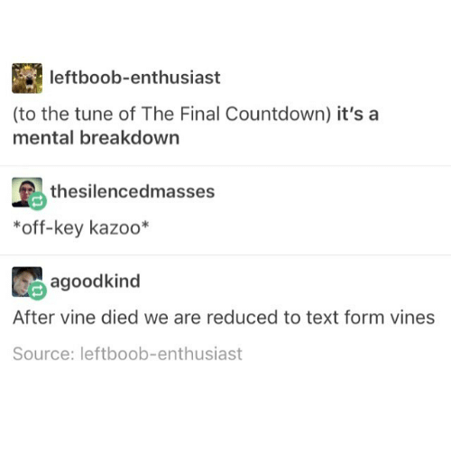 Countdown Memes And Vine Leftboob Enthusiast To The Tune Of The Final