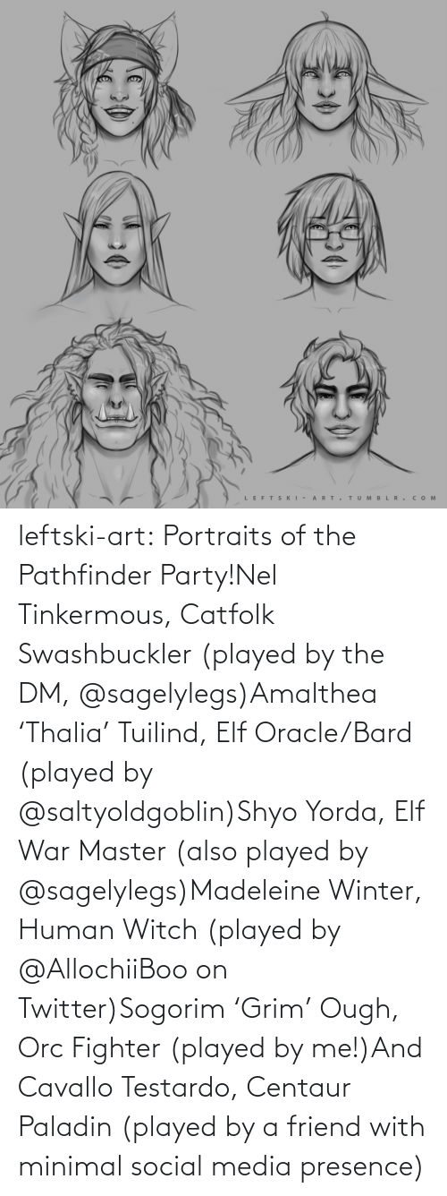 Elf, Party, and Social Media: LEFTS KI - A RT.  TUM B L R . сом  >ф leftski-art:  Portraits of the Pathfinder Party!Nel Tinkermous, Catfolk Swashbuckler (played by the DM, @sagelylegs)Amalthea 'Thalia' Tuilind, Elf Oracle/Bard (played by @saltyoldgoblin)Shyo Yorda, Elf War Master (also played by @sagelylegs)Madeleine Winter, Human Witch (played by @AllochiiBoo on Twitter)Sogorim'Grim' Ough, Orc Fighter (played by me!)And Cavallo Testardo, Centaur Paladin (played by a friend with minimal social media presence)