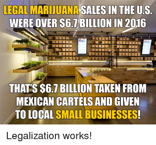 Memes, Marijuana, and Mexican: LEGAL MARIJUANA  SALES IN THE US  WERE OVER S6.1BILLION IN 2016  ALIBERTARIAN FUTURE.COM  THATS $6.7 BILLION TAKEN FROM  MEXICAN CARTELS AND GIVEN  TO LOCAL SMALL BUSINESSES Legalization works!