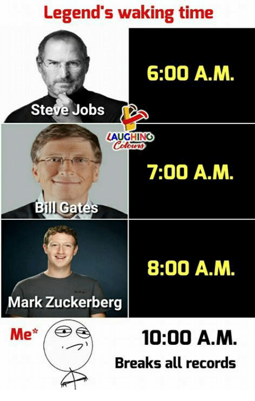 Mark Zuckerberg, Steve Jobs, and Jobs: Legend's waking time  6:00 A.M.  Steve Jobs  LAUGHING  otcn  7:00 A.M.  Il Gat  8:00 A.M.  Mark Zuckerberg  10:00 A.M.  Breaks all records  - フ)
