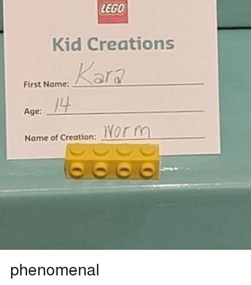 LEGO Kid Creations First Named First NameRar 4 Age Norm Name
