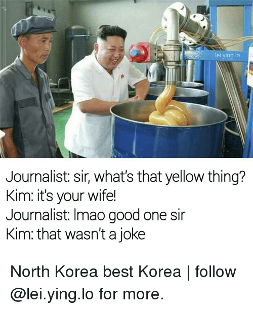 Memes, North Korea, and 🤖: lei ying lo  Journalist: sir, what's that yellow thing?  Kim: it's your wife!  Journalist: Imao good one sir  Kim that wasn't a joke North Korea best Korea | follow @lei.ying.lo for more.