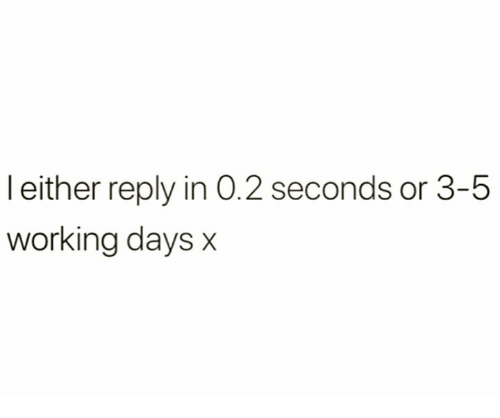 Working, Reply, and  Days: leither reply in 0.2 seconds or 3-5  working days x