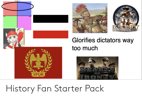 Starter Packs, Too Much, and History: Len  Right  FNORA  INIVERSAI  lorifies dictators way  too much  SPQR  IRON  2 History Fan Starter Pack