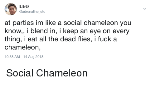 Chameleon, Fuck, and All The: LEO  @adrenaline_etc  at parties im like a social chameleon you  know, i blend in, i keep an eye on every  thing, i eat all the dead flies, i fuck a  chameleon,  10:38 AM - 14 Aug 2018 Social Chameleon