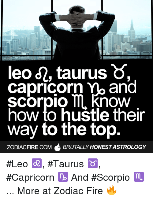 Fire, Capricorn, and How To: leo d2, taurus  Capricorn mo and  Scorpio ll now  how to hustle their  way to the top  ZODIACFIRE.COM  BRUTALLY HONESTASTROLOGY #Leo ♌, #Taurus ♉, #Capricorn ♑ And #Scorpio ♏...  More at Zodiac Fire 🔥