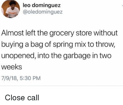 Memes, Spring, and 🤖: leo dominguez  @oledominguez  Almost left the grocery store without  buying a bag of spring mix to throw,  unopened, into the garbage in two  weeks  7/9/18, 5:30 PM Close call