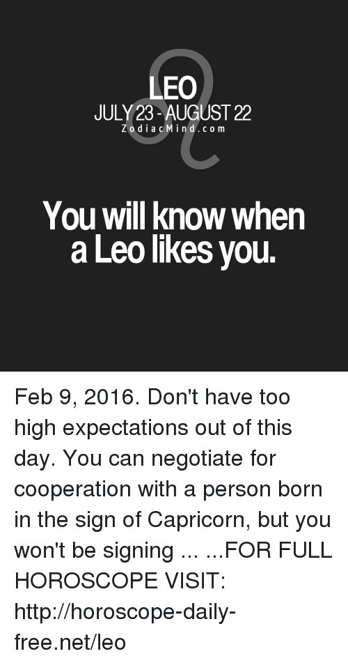 february 9 horoscope leo or leo