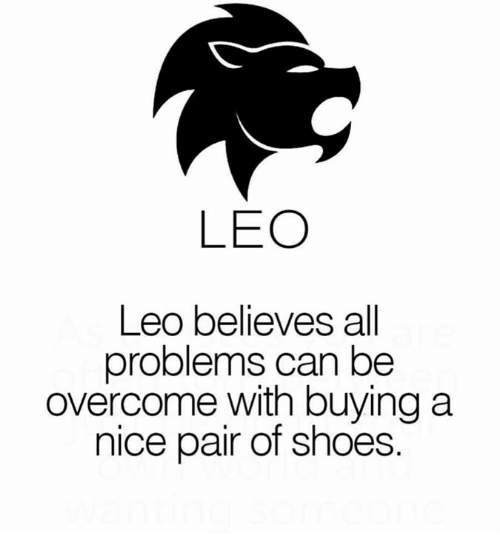 Shoes, Nice, and Leo: LEO  Leo believes all  problems can be  overcome with buying a  nice pair of shoes.