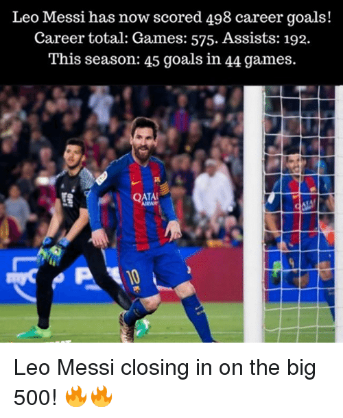 Goals, Memes, and Games: Leo Messi has now scored 498 career goals!  Career total: Games: 575. Assists: 192.  This season: 45 goals in 44 games.  QATAL Leo Messi closing in on the big 500! 🔥🔥