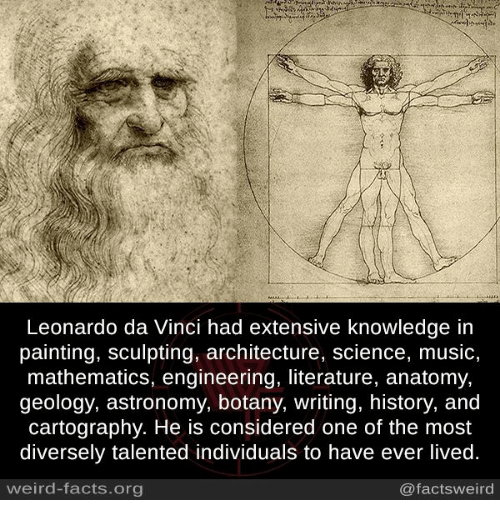 Facts, Leonardo Da Vinci, and Memes: Leonardo da Vinci had extensive knowledge in  painting, sculpting, architecture, science, music,  mathematics, engineering, literature, anatomy,  geology, astronomy, botany, writing, history, and  cartography. He is considered one of the most  diversely talented individuals to have ever lived.  weird-facts.org  @factsweird