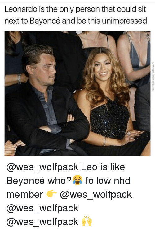 Beyonce, Memes, and 🤖: Leonardo is the only person that could sit  next to Beyoncé and be this unimpressed @wes_wolfpack Leo is like Beyoncé who?😂 follow nhd member 👉 @wes_wolfpack @wes_wolfpack @wes_wolfpack 🙌