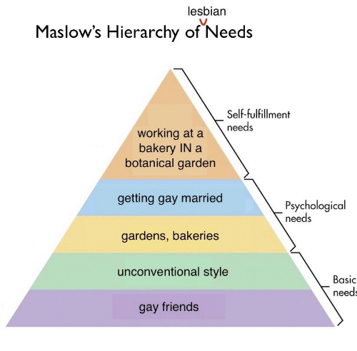 Friends, Working, and Gay: lesbian  Maslow's  Hierarchy of Needs  Self-fulfillment  working at a needs  bakery IN a  botanical garden  getting gay married  gardens, bakeries  unconventional style  gay friends  Psychological  needs  Basic  need