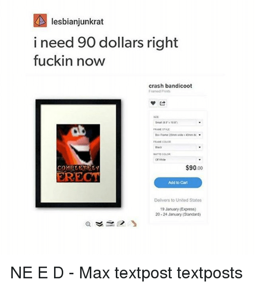Crash Bandicoot, Memes, and Express: lesbianjunkrat  i need 90 dollars right  fuckin now  crash bandicoot  $90.00  COMPLETELY  ERECT  Add to Cart  Delivers to United States  19 January (Express)  20-24 January (Standard) NE E D - Max textpost textposts