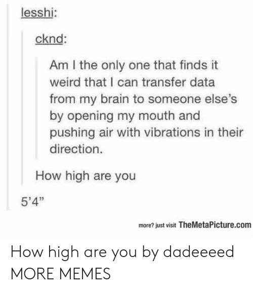 """Dank, How High, and Memes: lesshi:  cknd:  Am I the only one that finds it  weird that I can transfer data  from my brain to someone else  by opening my mouth and  pushing air with vibrations in thei  direction.  How high are you  5'4""""  more? just visit TheMetaPicture.com How high are you by dadeeeed MORE MEMES"""
