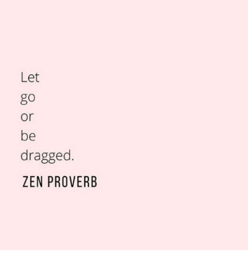 Zen, Proverb, and Let Go: Let  go  or  be  dragged.  ZEN PROVERB
