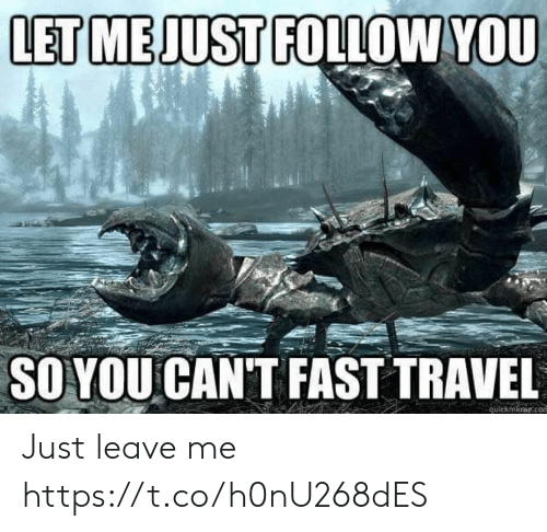 Travel, Fast, and Just: LET MEJUST FOLLOWYOU  SOYOU CAN'T FAST TRAVEL  quickmerme.co Just leave me https://t.co/h0nU268dES