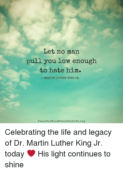 Let No Man Pull You Low Enough To Hate Him Martin Luther King Jr