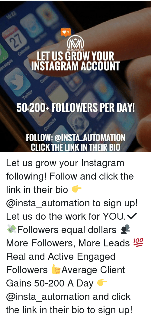LET US MILLIONAIRE MENTOR YOUR INSTAGRAM ACCOUNT 50200+
