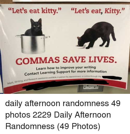 "How To, How, and Photos: ""Let's eat kitty.""  ""Let's eat, Kitty.""  COMMAS SAVE LIVES.  Learn how to improve your writing  Contact Learning Support for more informatio  Research assistance available in-person by appointment, or online through the daily afternoon randomness 49 photos 2229 Daily Afternoon Randomness (49 Photos)"