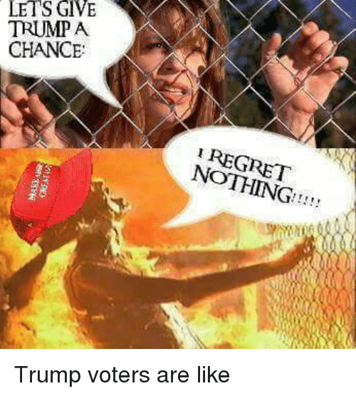 Regret, Trump, and Dank Memes: LETS GIVE  TRUMP A  CHANCE  REGRET  NOTHING!