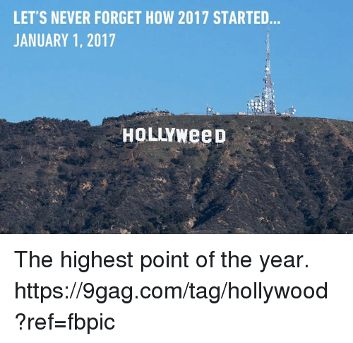 9gag, Dank, and Never: LET'S NEVER FORGET HOW 2017 STARTED  JANUARY 1, 2017  HOLLYWeeD The highest point of the year. https://9gag.com/tag/hollywood?ref=fbpic