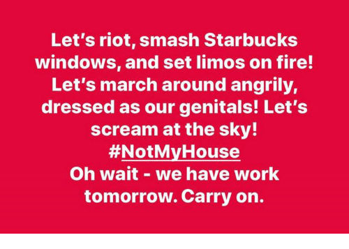 Fire, Memes, and Riot: Let's riot, smash Starbucks  windows, and set limos on fire!  Let's march around angrily,  dressed as our genitals! Let's  scream at the sky!  #NotM House  Oh wait - we have work  tomorrow. Carry on.