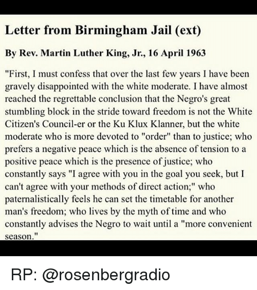 mlk letters from a birmingham jail Short quotes – martin luther king's letter from birmingham jail  i cannot sit idly by in atlanta and not be concerned about what happens in birmingham.