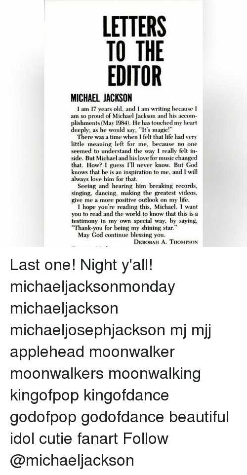 LETTERS TO THE EDITOR MICHAEL JACKSON I Am 17 Years Old and