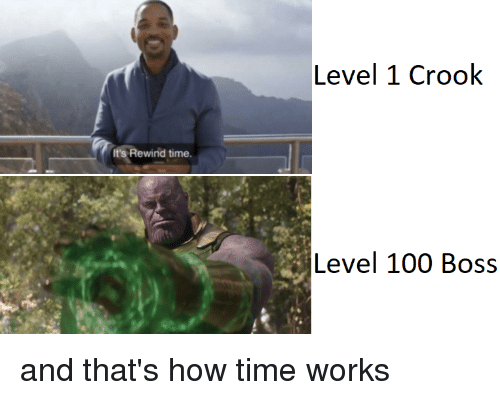 Anaconda, Time, and How: Level 1 Crook  Rewind time  Level 100 Boss